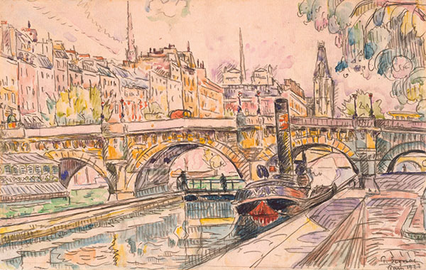 Tugboat at the Pont Neuf, Paris, by Paul Signac, 1923